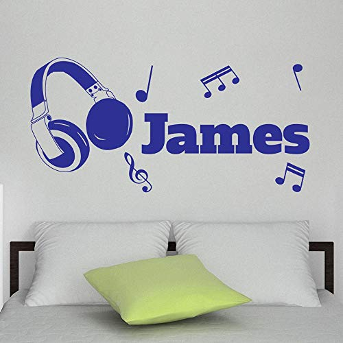 40x100cm Special Custom-made Personalised Name Headphones Music Note Vinyl Wall Sticker Art Decal Living Room Decor-You choose name&color