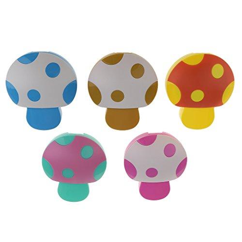 MagiDeal 5 Stück Kontaktlinsenbehälter mit Spiegel und Pinzette, niedliches Pilz Design, Zufällige Farbe - 5 Stück Pinzette