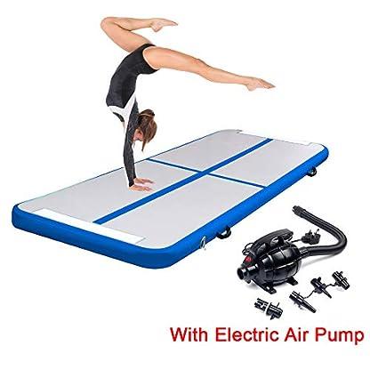 Triclicks Inflatable Air Tumble Track Gymnastics Mat With Electric Air Pump | Tumbling Mat Flooring Mat Yoga Workout Mat Training Mat | Portable Home Taekwondo Fitness Mat, 300 x 90 x 10cm 1