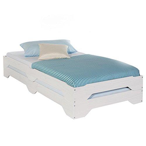 funktionsbett ulli IDIMEX Stapelbetten Set Doppelbett Einzelbett Gästebett Bett RONNY Kiefer massiv weiss lackiert 90 x 200 cm (B x L)