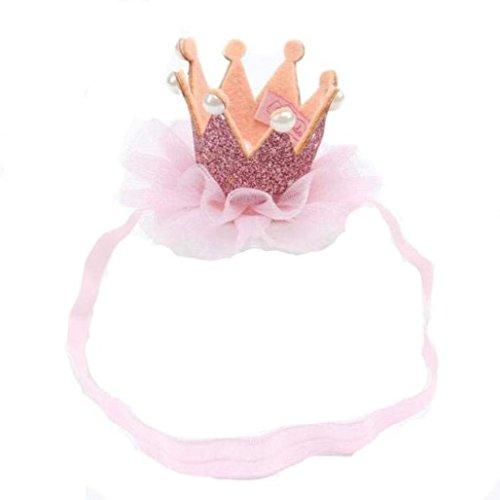 Saingace Mädchen-Kopf-Zusätze Hairband Baby-Haar-Band-elastische Blumen-Krone Headwrap neue Mode Headbands Haar Band Kopftuch Stirnband (Rosa)