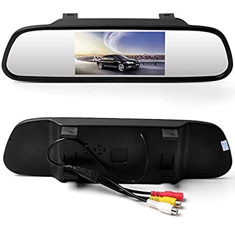 WZMIRAI 4.3 inch Digital Color TFT LCD Screen 16:9 Car Reverse Rear view Backup High Resolution Mirror Monitor for DVD/VCR/Car Reversing Camera(Support PAL/ NTSC / 2 Ways Video Inputs/DC