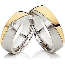 2 Eheringe Hochzeitsringe Trauringe Verlobungsringe aus Edelstahl, Bicolor gold silbern, mit 3 Zirkonia & gratis Gravur