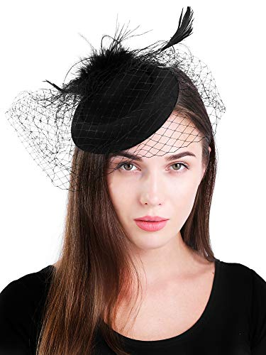 Mit Hut Pillbox Kostüm - Zivyes Vintage Hat Damen Hochzeit Fascinator Haarreif Pillbox Hut Tee Party Accessoires (3-Black)
