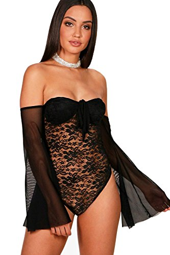 Schwarz Damen Eva Lace Off The Shoulder Mesh Sleeve Bodysuit - 6 (Metallic Cami Lace)