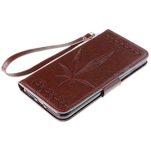IPhone 7 Plus Housse Case, Double Side Embossing Fleurs Haute Qualité Flip Stand PU Leather Case avec Lanyard Wallet & Card Cash Slots pour Apple IPhone 7 Plus ( Color : Rose , Size : IPhone 7 Plus ) Brown