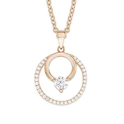 S.Oliver Damen Kette mit Kreis-Anhänger Geometrie 925 Sterling Silber rosévergoldet Zirkonia 42+3 cm weiß