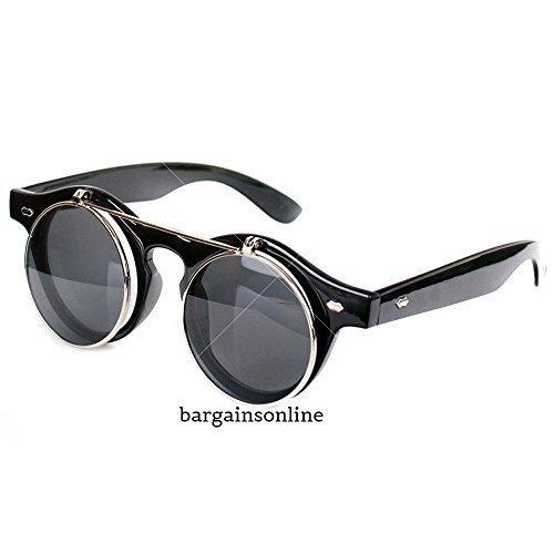 Steampunk Brillen Brillen Runde Sonnenbrille Retro Vintage Aufklappen Cyber Gotik Schwarze Farbe