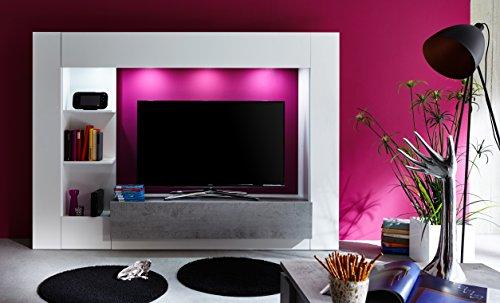 trendteam HY00135 Wohnwand TV Möbel Weiß, Absetzungen Beton Industry Nachbildung, Stellmaß BxHxT 209 x 156 x 42 cm - 5