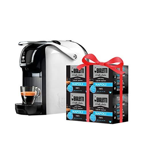 Bialetti Macchina Caffè Espresso Break (super compatta) per Capsule in Alluminio sistema Bialetti il Caffè d\'Italia, White + 64 CAPSULE OMAGGIO