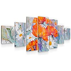 Startonight Grande Cuadro Moderno en Lienzo - Amapolas y Margaritas - Pintura Flores para Salon XXL Decoración 7 Piezas 100 x 240 CM