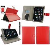 Emartbuy® Hyundai AT7 7 Inch Tablet Universal Serie Rojo Ángulo Múltiples Executive Folio Funda Carcasa Wallet Case Cover Con Tarjeta de Slots + Negro Lápiz Óptico