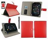 Emartbuy® AlpenTab Heidi 7 Zoll Tablet PC Universalbereich Rot Multi Winkel Folio Executive Case Cover Wallet Hülle Schutzhülle mit Kartensteckplätze + Schwarz Eingabestift