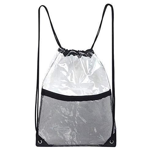 Faviye Drawstring Bag Tragbarer wasserdichter Rucksack aus transparentem PVC mit Reißverschluss-Netz-Fronttasche für die Reise -