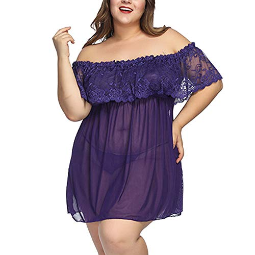 B-commerce Große Größe Mesh Pyjama Kleid Frauen Dessous Spitze Babydoll G-String Tanga Strumpf Unterwäsche Nachtwäsche Set Rüsche Lose Unterwäsche