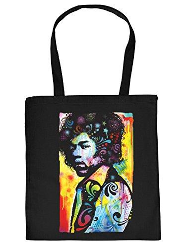 Stofftasche mit buntem Motiv: Jimi Hendrix - Einkaufstasche aus Baumwolle - Farbe: schwarz (Jute Hey)