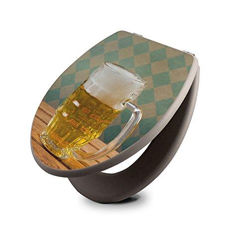 Preisvergleich Produktbild banjado - taupe Design Toilettendeckel WC Sitz Brille 36m x 5cm x 45cm mit Motiv Oktoberfest