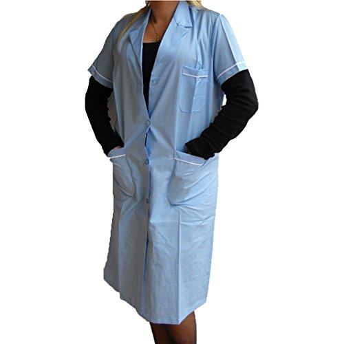 Camice donna abbigliamento lavoro maestra cotone blu bordeaux verde azzurro (celeste, 60)