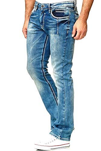 Rusty Neal Jeanshose Herren Dicke Naht Weiße Ziernaht Blue Jeans Regular Fit Stretch -29, Hosengröße:34/32