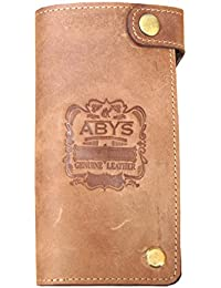 ABYS Genuine Leather Money Clip||Card Holder||Long Wallet||Travel Wallet With 20 Card Slots