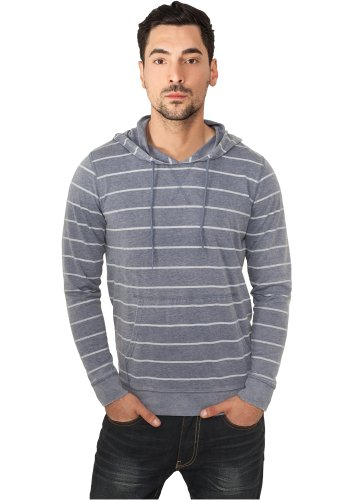 URBAN CLASSICS - Striped Burnout (denim blue/white) - Hoody, Gr. S (Blue Striped Crewneck Pullover)