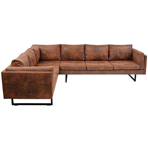 Festnight sofa set divano angolare moderno gambe in acciaio e rivestimento in ecopelle/pelle sintetica/artificiale da soggiorno da salotto ufficio 251 x 198 x 77 cm
