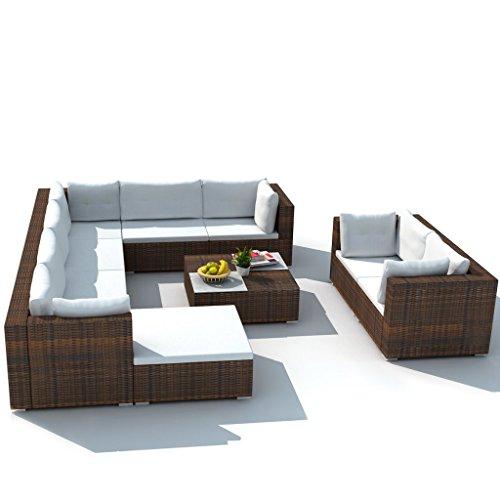 Festnight 32-TLG. Gartensofa Set mit 1 Teetisch Gartenlounge Garten Lounge-Set aus Polyrattan Loungegruppe Sitzgruppe für Terrasse Garten - Braun