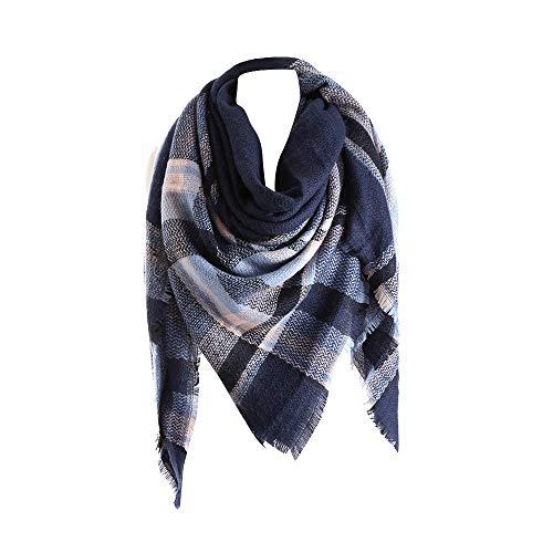 QinMM bufanda a cuadros de Cashmere para mujeres chal de invierno pañuelo pashminas mantón