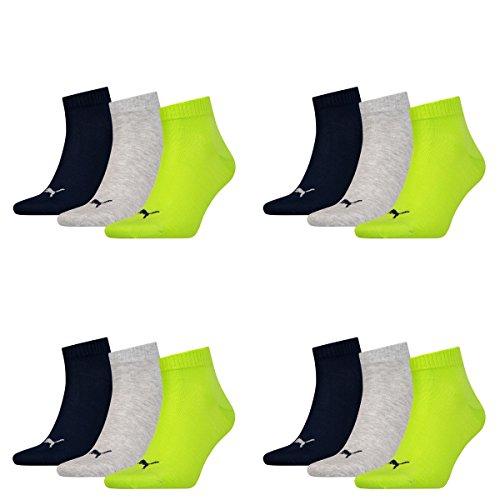12 Paar Puma Unisex Quarter Socken Sneaker Gr. 35 - 49 für Damen Herren Füßlinge, Socken & Strümpfe:39-42, Farbe:064 - lime punch