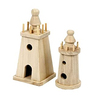 Wooden Lighthouse Models, Set of 2 exclusively sold by Amatola-Kei