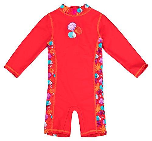 Baby-Badebekleidung, langärmliger Einteiler mit UV-Schutz 50+ und Oeko-Tex 100 Zertifizierung in rot; Größe 62/68