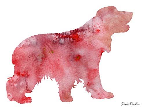 english cocker spaniel Rasse Hunde Hunderasse Fine Art Print Aquarell Silhouette Profil Poster Kunstdruck Plakat modern ungerahmt DIN A 4 Deko Wand Bild -