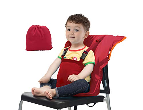 Vine Chaise Haute de Voyage Portable Easy Seat | Rehausseur Chaise Enfant,Housse de Siège pour Chaise Haute Toddler | Réglable, Sécurité, Lavable | Facile à Ransporter dans le sac à main | Rouge