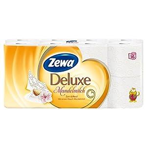 Zewa Deluxe Mandelmilch Toilettenpapier, verwöhnendes WC-Papier 4-lagig mit mildem Mandelduft, 1 x Vorratspack mit 16 Rollen