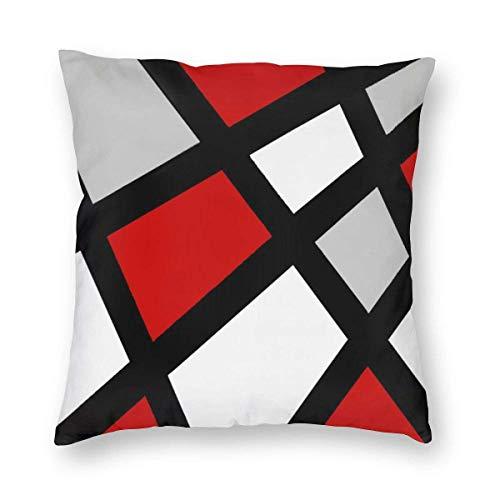 BathWang Funda de Almohada Cuadrada, diseño geométrico, 50 x 50 cm, Color Rojo, Gris, Negro y Blanco...