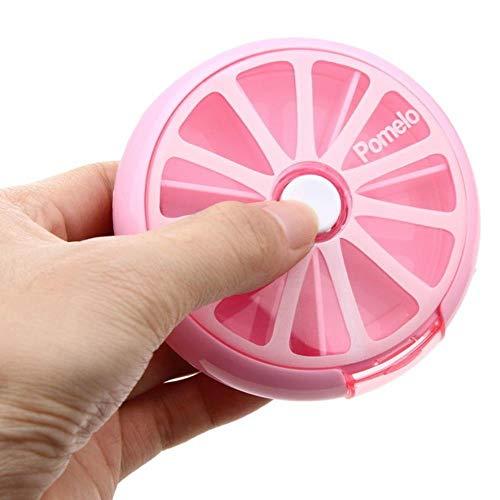 Pillendose Runde Outdoor-Reise Pillendosen Tragbare, rotierende Medizinbox Tablet-Spender Vorratsbehälter Leicht zu tragen Niedlich, Rosa -