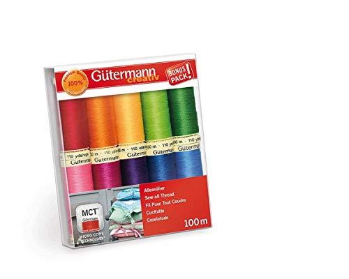 Gütermann 10 Rollen Allesnäher Nähgarn-Set Regenbogen Farben