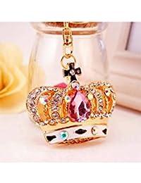 Banggood ELECTROPRIME Crystal Keyring Charm Pendant Bag Key Ring Chain Keychain Crown Pink