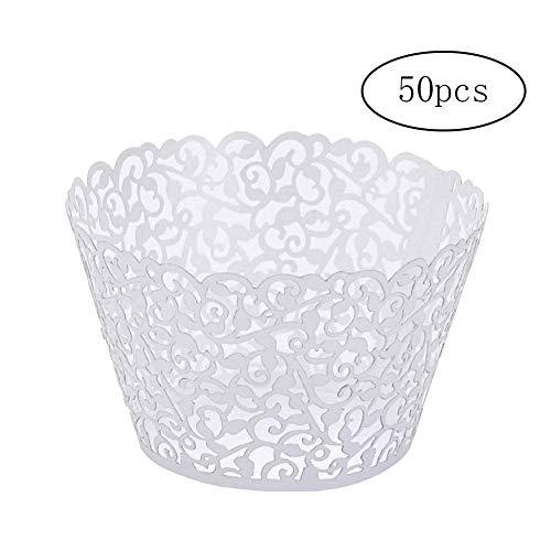 Ndier 50 pièces d'élégantes gobelets en Papier vides gravés Cupcake Wrapper Multi Comment Utiliser du Papier de Dentelle pour Les décorations de gâteau Blanc