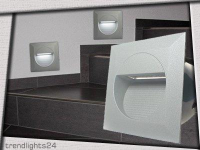 3x Led Wandeinbauleuchte Rayon 2 Ip65 230v 12w Alu Silbergrau Kaltwei Trendlights24 Hausmarke von trendlights24