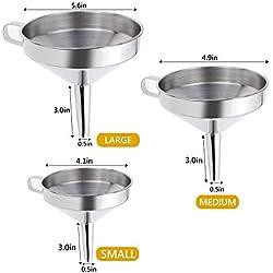 Philonext Ensemble d'entonnoir à filtre à cuisine, Ensemble de filtre en entonnoir en acier inoxydable de 3 pièces avec poignée et filtre détachable pour le transfert de liquide