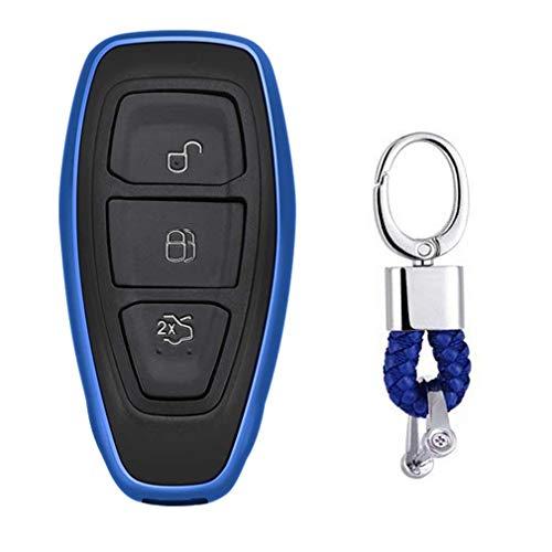 Azul Funda de TPU Suave para Llave + Llavero para Coche Ford Mondeo Focus 3 MK3 ST Kuga Fiesta Escape Ecosport Titanium