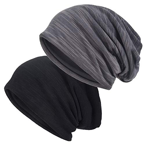 EINSKEY Mützen Herren Damen Slouch Beanie Mütze Warm Dünn Skull Cap Kopfbedeckung Set Schwarz & Grau für Chemo, Sport, Krebs, Schlaf