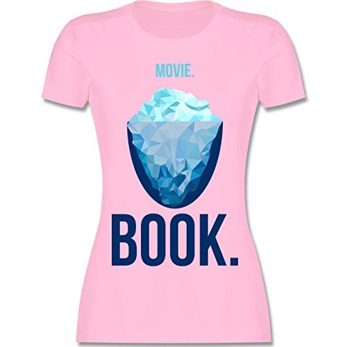 Nerds & Geeks - Movie vs Book - tailliertes Premium T-Shirt mit Rundhalsausschnitt für Damen Rosa