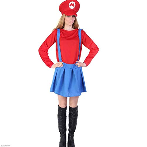 DDHZTA Mario Louis Kleidung Erwachsene Kinder Super Mary Kostüm Halloween Kostüm Cosplay Eltern-Kind-Uniform,Adult