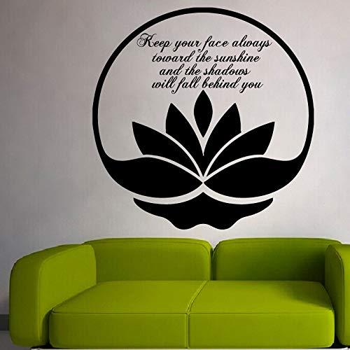 Halten Sie Ihr Gesicht immer in Richtung Sonnenschein Wandaufkleber Zitate Vinyl Kunst Wohnkultur Wohnzimmer Lotus Wandtattoos 58 * 58 cm