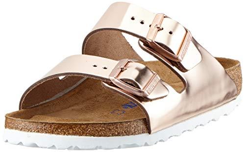 BIRKENSTOCK Damen Arizona Leder Softfootbed Pantoletten, Braun (Metallic Copper), 40 EU