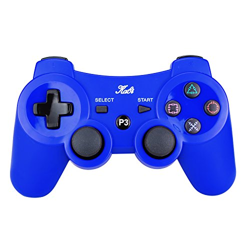 Kabi Wireless Bluetooth Game Romote Controller mit 6-Axis Double Shock Bonus kostenloses Ladekabel für ps3 Playstation 3 Controller((Neue Version) (Blau)