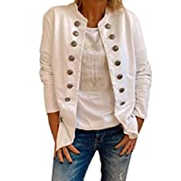 GAGA Women Double Breasted Jacket Long Sleeve Stand Collar Casual Coats White S