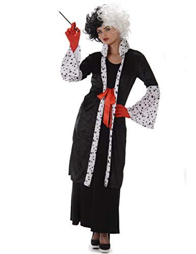 Cruella Evil Madame Ladies Fancy Dress Halloween Villain Womens Adults Costume